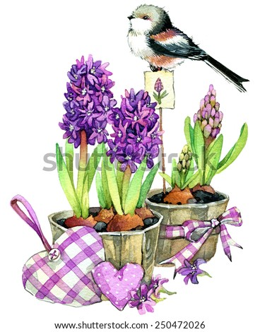 Spring flowers and bird. watercolor - stock photo