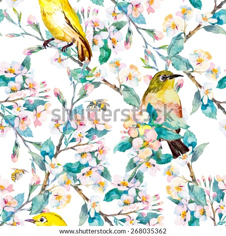 Spring flowers and birds. Pattern. Spring fashion pattern. Watercolor.  - stock photo