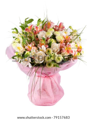 Spring flowers bouquet with a lot of different flowers - stock photo
