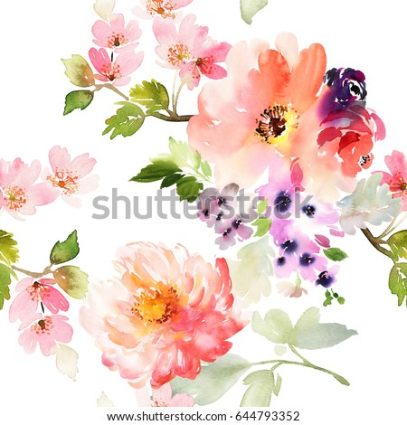 Spring flowers on white background peony stock illustration spring flowers on white background peony is large seamless watercolor pattern mightylinksfo