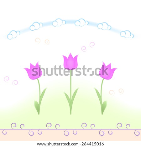 Spring flowers repeating pattern - stock photo