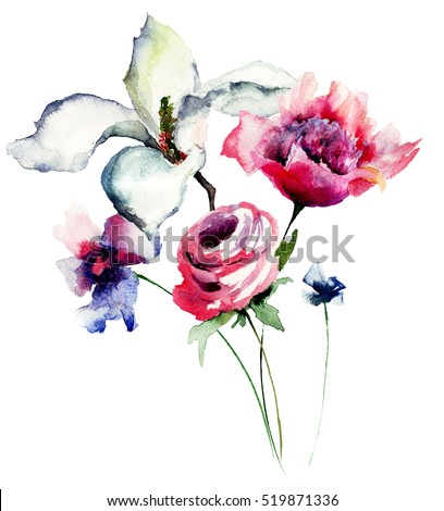 Spring flowers watercolor illustration
