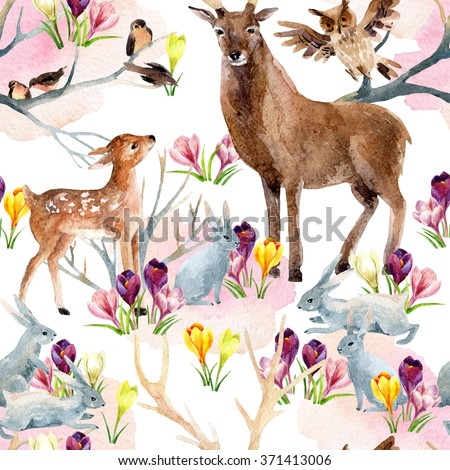 Spring forest seamless pattern. Deer with fawn, rabbits, birds and first spring flowers. Hand painted illustration on white background - stock photo