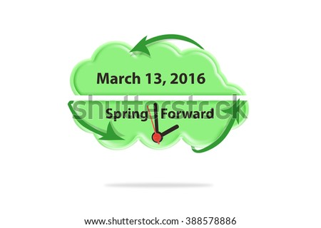 Spring Forward March 13, 2016 green thought bubble cloud isolated on white background - stock photo