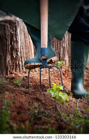Spring garden concept. Male is doing garden work with hay fork. - stock photo