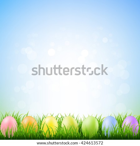 Spring Grass With Easter Eggs