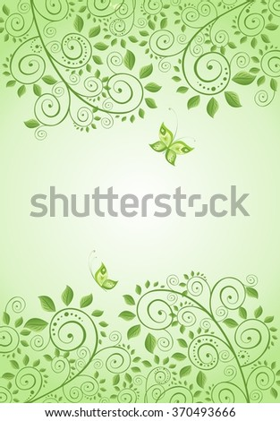 Spring green decorative floral banner - stock photo