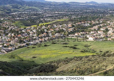 Spring green view of suburban Simi Valley near Los Angeles in Southern California. - stock photo