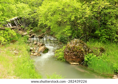 Spring green with a flowing stream, Utah, USA. - stock photo