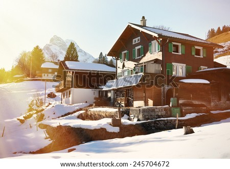 Spring in Braunwald, famous Swiss skiing resort  - stock photo