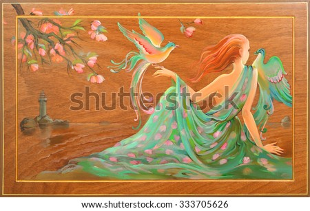 Spring in Douarnenez. Oil painting on wood. - stock photo