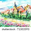 Spring in small city on the river.Picture I have created with watercolors. - stock vector