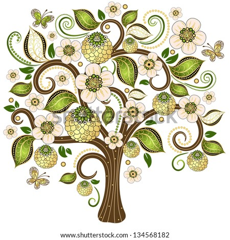 Spring isolated tree on a white with gold and green  leaves,  flowers and butterflies - stock photo
