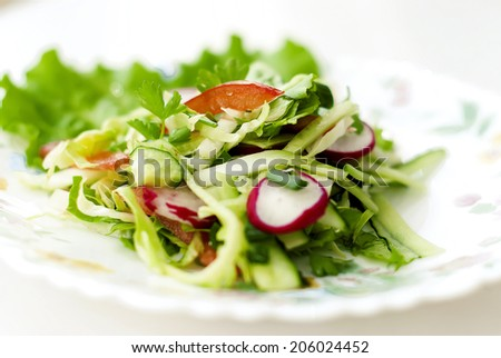 Spring juicy delicious salad of cucumber and radish with lettuce closeup - stock photo