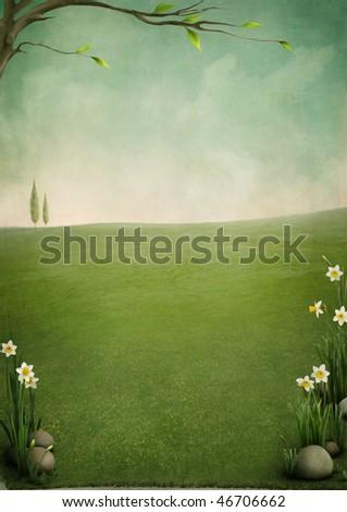 Spring landscape,Easter background for cards - stock photo