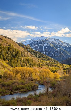 Spring landscape in Provo Canyon, Utah, USA. - stock photo