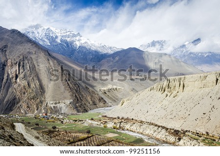 Spring landscape of Himalaya mountains, Nepal - stock photo