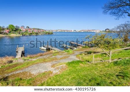 Spring landscape of Karlskrona sea shore - stock photo