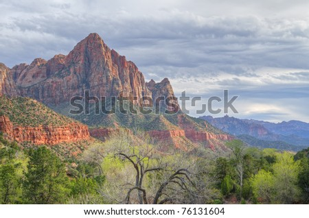 Spring landscape of the Watchman with clearing storm, Zion National Park, Utah, USA - stock photo