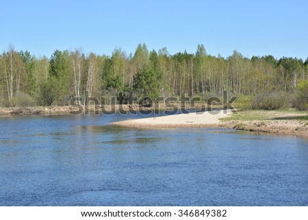 "Spring landscape on the river in Central Russia. The national Park ""Meschera""."