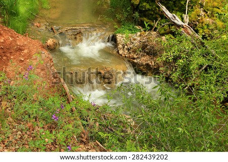 Spring landscape with a stream and wildflowers, Utah, USA. - stock photo