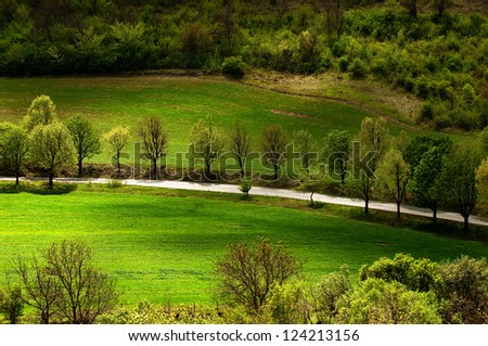 Spring landscape with countryside views of Preslav - stock photo
