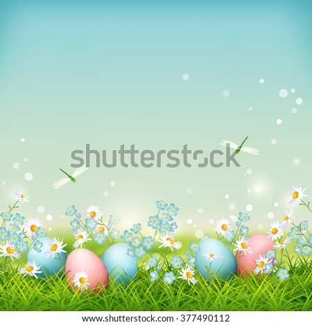 Spring landscape with Easter eggs, flowers and dragonflies on meadow