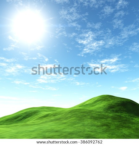 Spring landscape with juicy green hills and blue sky with clouds. - stock photo