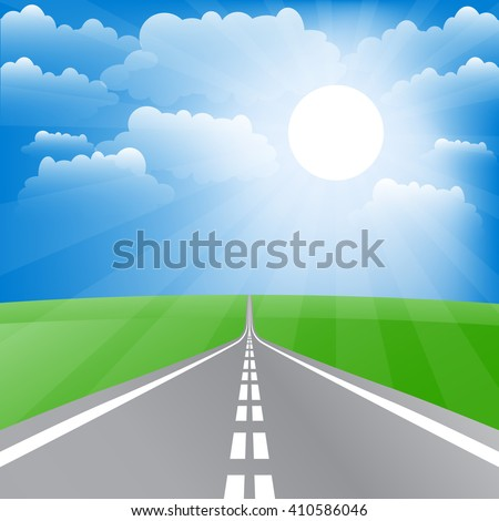 Spring landscape with road and sun. Raster illustration. - stock photo