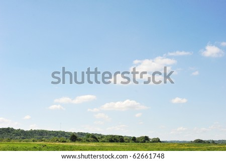 spring meadow and trees  landscape - stock photo