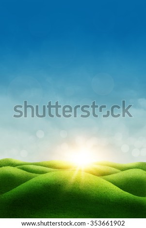 Spring meadow, blue sky and sun - stock photo