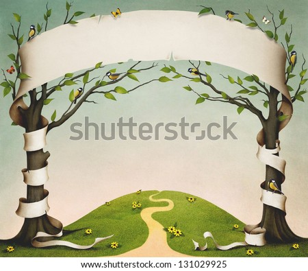 Spring meadow with trees, birds and flowers, and large paper banner.
