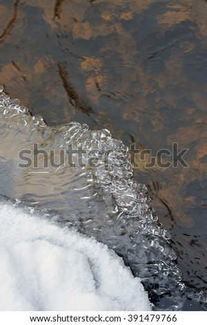 Spring melting of ice and the flow of water.