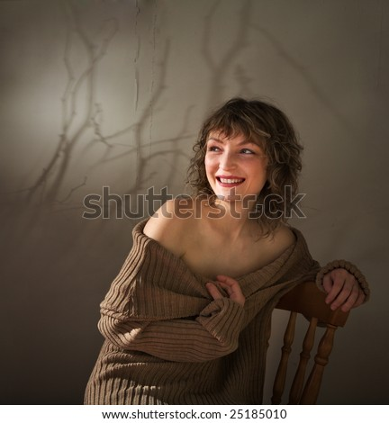 Spring mood of the young woman - stock photo