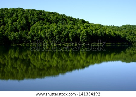 Spring morning, Big Ditch Lake, Cowen, Webster County, West Virginia, USA