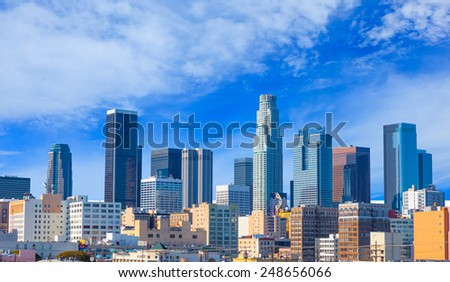 Spring morning in  Los Angeles Skyline ,California - stock photo