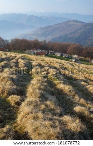 Spring morning in the mountains. Carpathians, Ukraine, Europe - stock photo