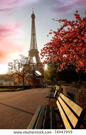 Spring morning with Eiffel Tower, Paris, France - stock photo