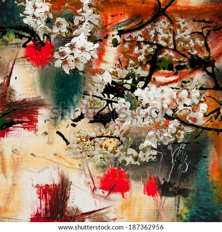 Spring motif, abstract background oil painting and mixed media        - stock photo