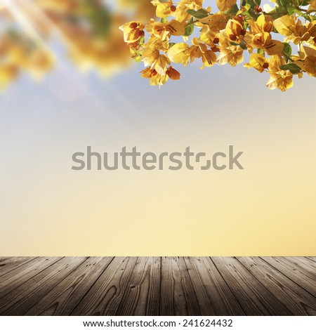 Spring nature background with blooming flowers, sunset sky and wooden empty table - stock photo