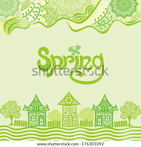 Spring nature pattern background green landscape houses trees illustration