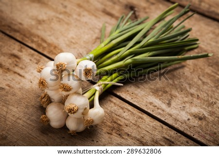 Spring onions on wood background - stock photo