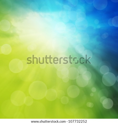 Spring or summer abstract background with bokeh lights. - stock photo