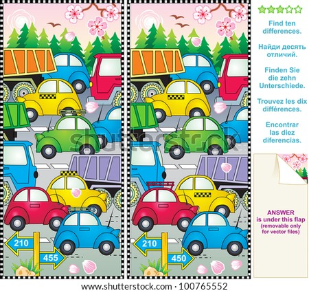 Spring or summer traffic jam visual puzzle: Find the ten differences between the two pictures ( for vector EPS see image 100766587 )  - stock photo