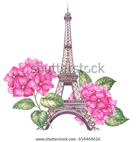 Spring Paris Illustration Watercolor Botanical Of A Hydrangea Eiffel Tower With Bouquet