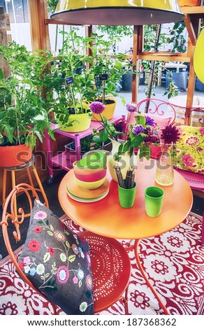 spring part of home veranda  - stock photo