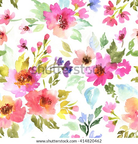 Spring pattern with flowers and plants. Watercolor floral illustration.Seamless pattern. - stock photo