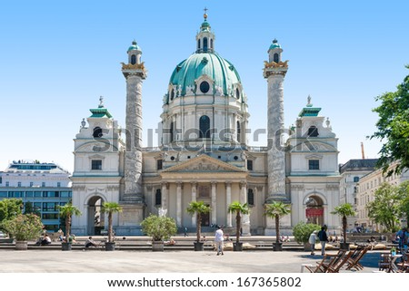 Spring photo of the The Karlskirche (St. Charles's Church), Vienna (Wein) - stock photo