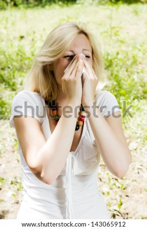 Spring pollen allergy. - stock photo