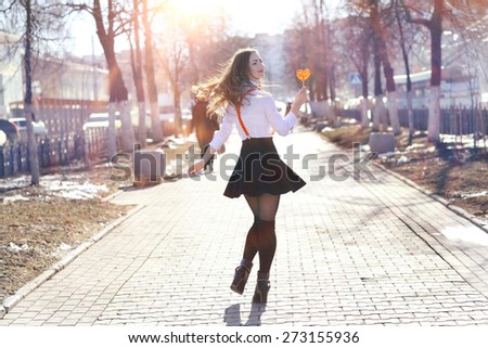 Spring portrait of a beautiful girl - stock photo